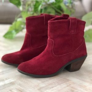 Red Vegan Suede Leather Wester Style Booties 9